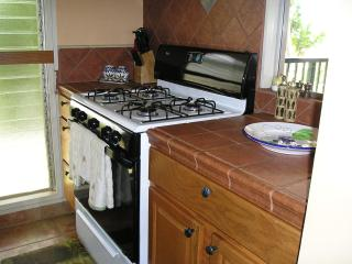 Fully equipped kitchen with all big and small appliances, cookware, dishes and tile countertops
