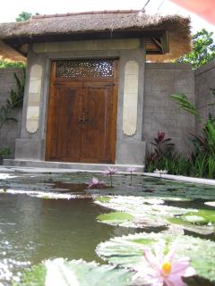 Lotus flowers inside welcome gates