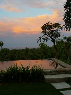 Sun sets from the pool