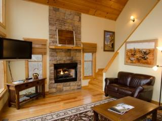 Living room with flat screen tv, leather couch, and stone fireplace