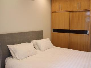 Bedroom has large wardrobe