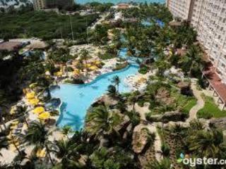 Lush gardnes and towering palm surround the pool