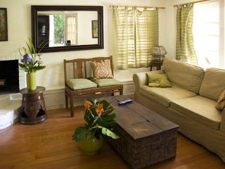 Fold out couch in living room.
