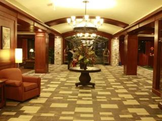 Natural stone and wood lobby