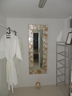 Bed 1 ~ lockable walk in robe with large safe suitable for lap top, fan and full length mirror