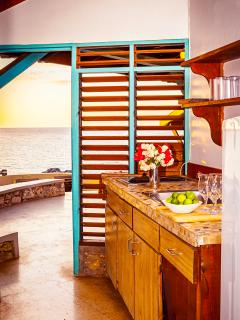 Kitchen with a view!  Includes a fridge, stovetop, microwave, blender, and utensils