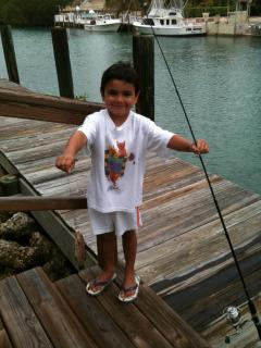 Fishing behind our villa in our dock