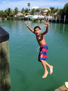 Jumping off the dock. One of my kids favorite past times