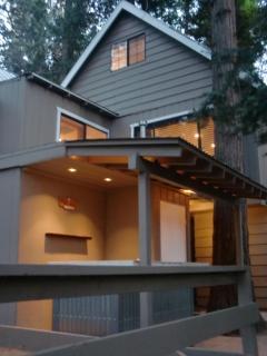Back of cabin at dusk