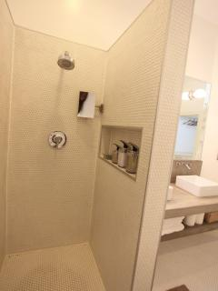 Shower in ensuite master bedroom. Soap, shampoo, conditioner supplied.
