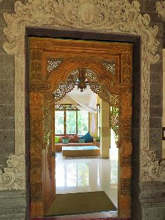 The intricately carved entry. There is over 25,000 hours of stone and wood carving in the villa.