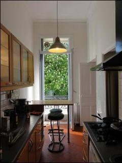 Kitchen with view over a leafy garden