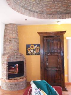 LIVING ROOM W FIREPLACE AND BRICK DOME