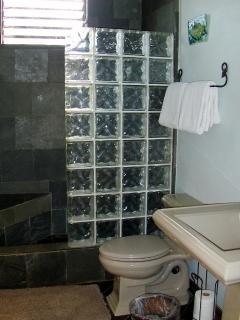 Glass, Granite and Tile Bathroom