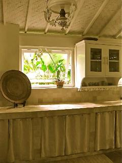 Kitchen with view to garden.