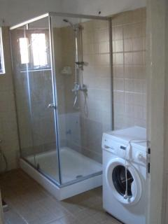The Bathroom of 2-BRM (It is a shower with washing machine next to the shower)