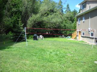 Backyard with fire pit, sitting area, large grass area, BBQ, and Badminton Net and games