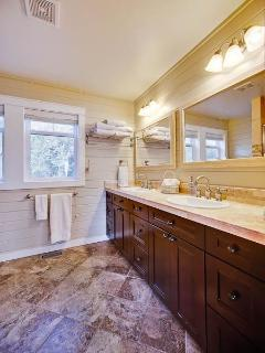 Bathrooms are beautiful appointed with granite and marble tiles,  luxury Egyptian cotton towels