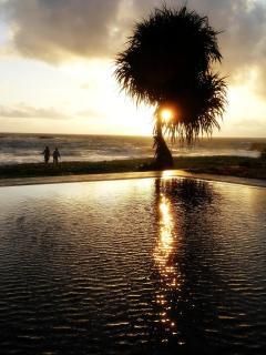 Sunset on pool