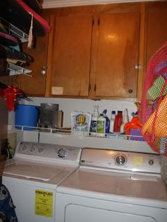 Full size private washer and dryer, lots of sand toys, boogie boards, beach chairs, etc.