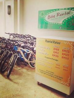 Bike rental corner is just downstairs