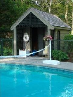 Heated Pool with Pool House that has an Outdoor Shower