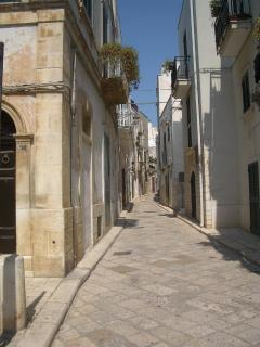 Typical cobblestone street downtown Conversano