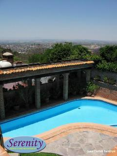 terrace view, pool below