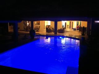 Patio view of covered terrace and pool at night