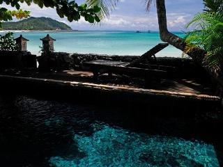Emerald swimming pool on the sea