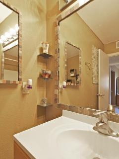 Bathroom, spacious with medicine cabinet