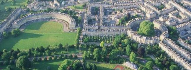 Aerial view of Royal Crescent and Circus