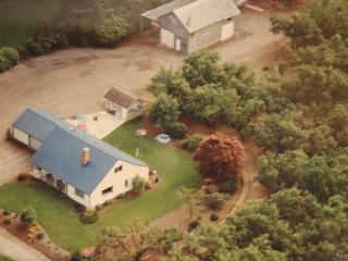 Aerial shot of home, the shop and a small part of the orchard