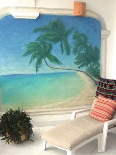 Hand painted tropical beach mural on patio
