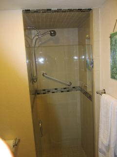 Italian tile shower with safety grab bar