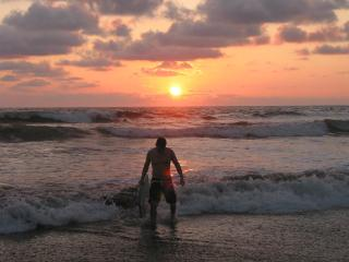Guest Boogy Boards at Sunset in Jaco