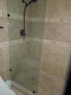 Master bath tiled shower,  granite vanity