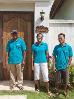 The staff at VIlla Nusa: Komang the housekeeper, Gede the gardener and pool man and Wayan, Security