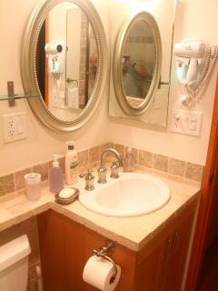 Sink with makeup Light and Hairdryer