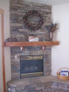 Gas fireplace.
