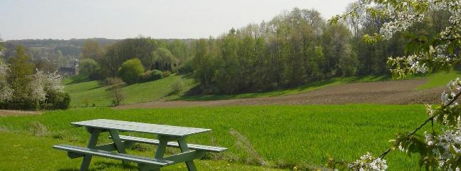 panoramic view over the surrounding fields and woods
