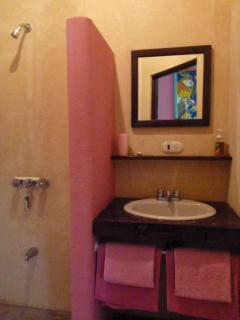 Pink cabin bathroom