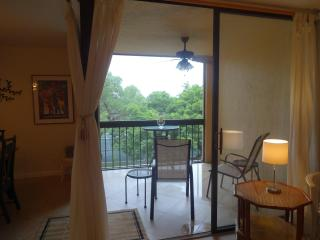 Screened balcony with view of tennis courts