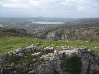 View from the top of the gorge, Cheddar village and reservoir beyond  (photo: Chris Andrews)
