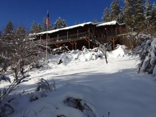 View of the lodge from lower part of the property
