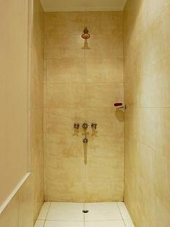 Walk in marble shower that has the best water pressure shower ever!!