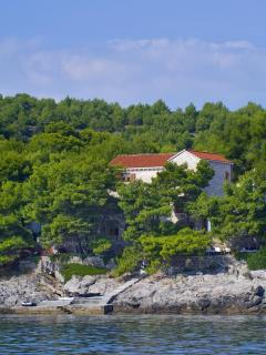 Villa Rosemarine from the Adriatic Sea - she sits amongst the peaceful pines