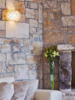Hand crafted stone walls through the villa