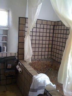 HUGE Mexican tile tub & rain-shower