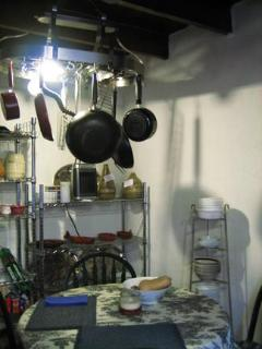 Hanging pots & pans in Kitchen